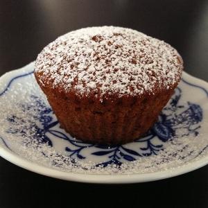 Courgettecupcake med flormelis på toppen